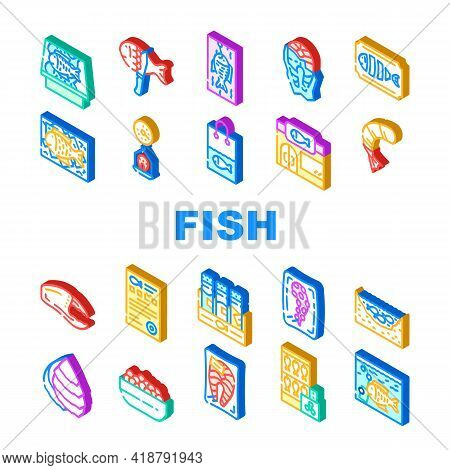 Fish Market Product Collection Icons Set Vector. Smoking And Frozen Fish, Octopus Tentacles And Peel