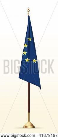 European Union Flag On A Gold Stand. Eu Flag On Flagpole. Vector Illustration
