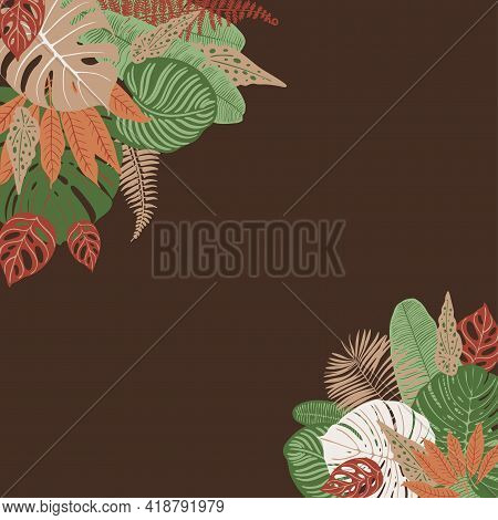 Beige Brown Green Tropical Leaves Vector Frame. Exotic Decor. Fashion Decoration