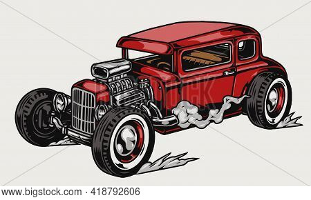 Red Retro Custom Hor Rod Template In Vintage Style Isolated Vector Illustration