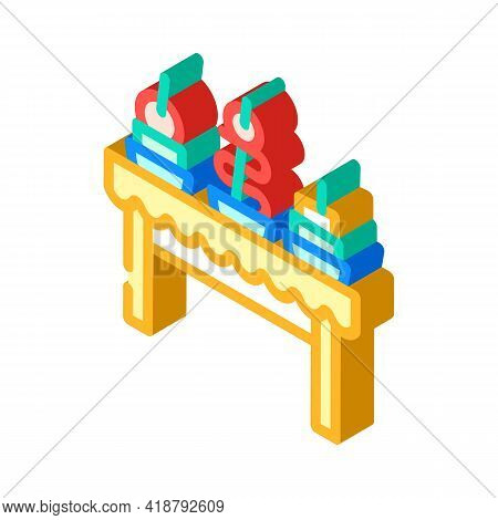 Snacks Buffet Isometric Icon Vector. Snacks Buffet Sign. Isolated Symbol Illustration