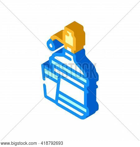 Water Bottle With Pump Isometric Icon Vector. Water Bottle With Pump Sign. Isolated Symbol Illustrat