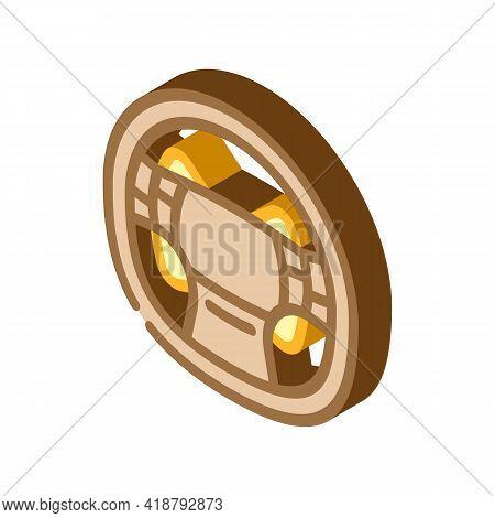 Steering Wheel Car Isometric Icon Vector. Steering Wheel Car Sign. Isolated Symbol Illustration