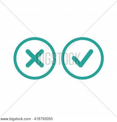 Set Of Check Mark Icons. Rounded Blue Tick And Cross In Circle. Flat Cartoon Style Buttons. Vector V