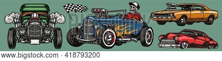 Classic Custom Cars Vintage Colorful Concept With Muscle And Retro Automobiles Skeleton In Baseball
