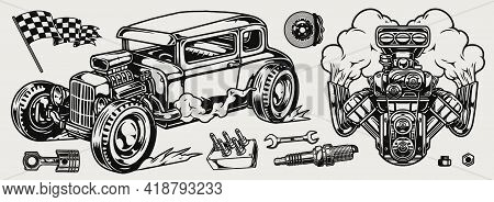 Retro Custom Car And Parts Composition With Racing Checkered Flag Hot Rod And Engine With Smoke Brak