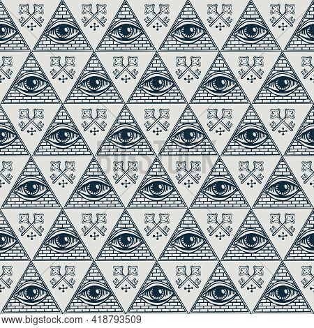 Seamless Pattern With All-seeing Eye Inside Triangle Pyramid And Old Crossed Keys. Hand-drawn Vector