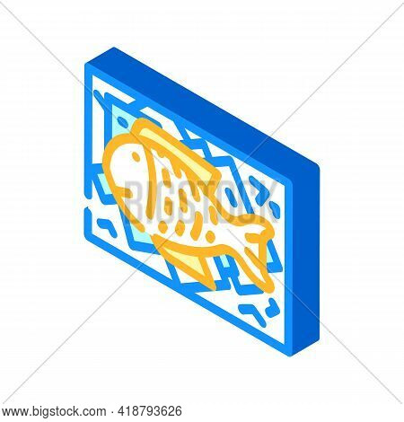 Showcase With Fish And Ice Isometric Icon Vector. Showcase With Fish And Ice Sign. Isolated Symbol I