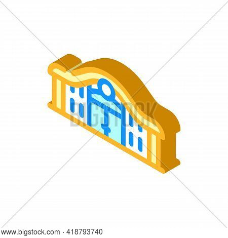 Railway Station Isometric Icon Vector. Railway Station Sign. Isolated Symbol Illustration