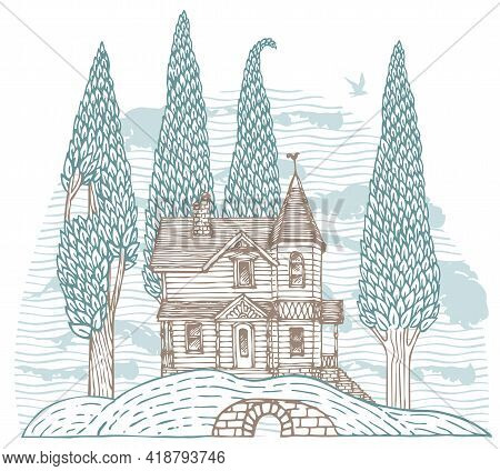Decorative Landscape With A Log Country Two-story House And Slender Trees On A Hill. Hand-drawn Vect