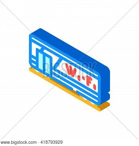 Wagon With Wifi Isometric Icon Vector. Wagon With Wifi Sign. Isolated Symbol Illustration