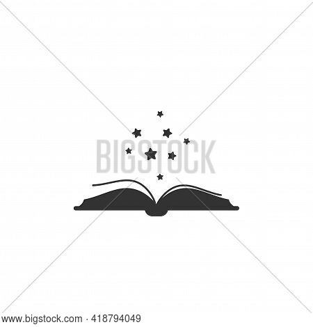 Open Book With Thick Book Cover And Black Soft Stars Flying Out. Isolated On White Background. Flat