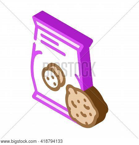 Oatmeal Cookies Snack Isometric Icon Vector. Oatmeal Cookies Snack Sign. Isolated Symbol Illustratio