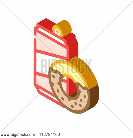 Donuts Snack And Drink Bottle Isometric Icon Vector. Donuts Snack And Drink Bottle Sign. Isolated Sy
