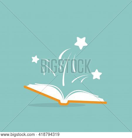 Open Book With White Stars Flying Out. Isolated On Powder Blue Background. Flat Icon. Vector Illustr