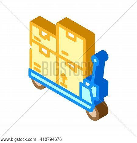 Transporter Cart Wholesale Isometric Icon Vector. Transporter Cart Wholesale Sign. Isolated Symbol I