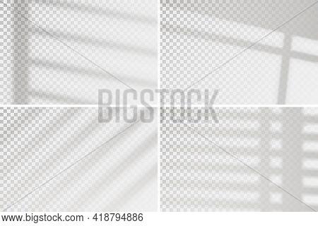 Overlay Window Effect On Transparent Background. Set Of Four Scenes Of Natural Lighting. Minimalisti
