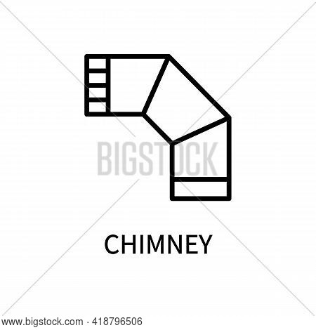 Icon Of The Chimney Line For The Stove In A Simple Style. Exhaust Pipe. Vector Sign In A Simple Styl
