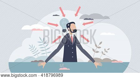 Concentration And Focused Mental Energy For Business Goal Tiny Person Concept. Mind Energy Productiv