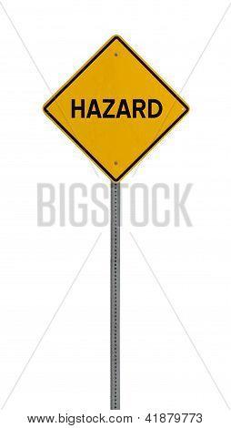 Isolated Yellow driving warning sign hazard