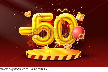 50 Off. Discount Creative Composition. 3d Golden Sale Symbol With Decorative Objects, Heart Shaped B