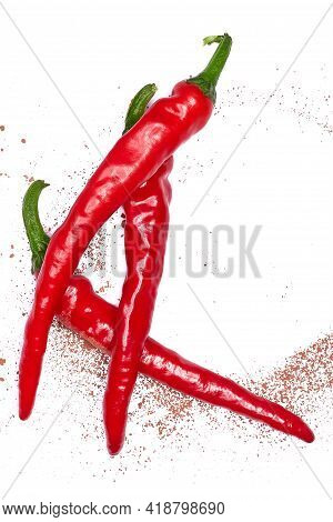 Hot Chili Peppers. Peppers Chili Full Macro Shoot Food Ingredient On White Isolated. Clipping Path H