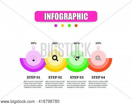 Circular Shape Business Infographic Presentation Template 4 Options. Concept Infographic Vector Desi