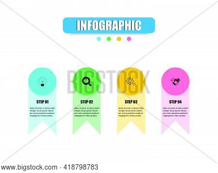 Vector Design Presents A Business Infographic Template With 4 Options. Concept Infographic Circles,