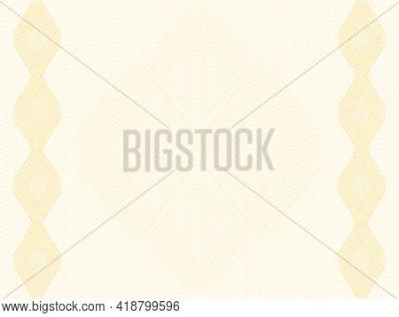Golden Openwork Watermark, Rhombus Border. Pastel Guilloche Pattern, Subtle Lines. Elegant Backgroun