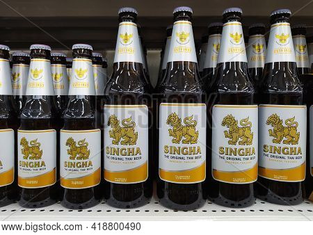 Chiang Mai - Thailand, April 20, 2021 : Close Up Of Singha Lager Beer. Singha Beer The Original Thai