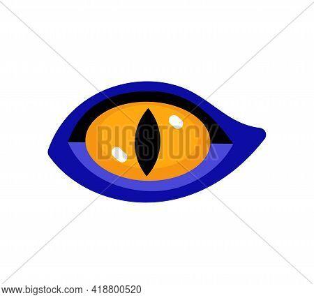 Beast Eye. Eye Of Wild Cat Or Hawk. Vector Isolated On White.