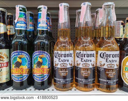 Chiang Mai - Thailand, April 20, 2021 : Corona Beer And Phuket Beer Display. Corona Extra Beer Bottl