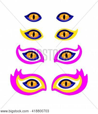 Set Of Unreal Psychedelic Beast Eyes. Vector Isolated On White Background.