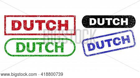 Dutch Grunge Seal Stamps. Flat Vector Scratched Stamps With Dutch Text Inside Different Rectangle An
