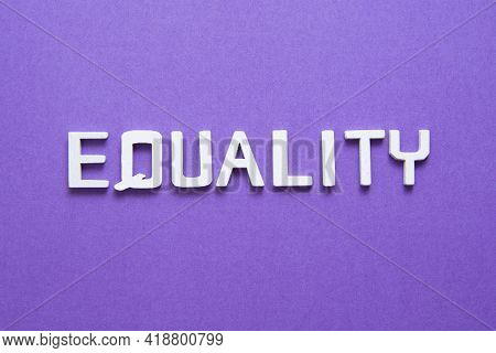 Gender Equality Concept Over Purple Background. Social Norms And Diversity Balance