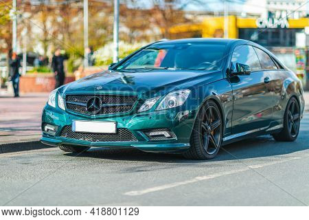 Hanover / Germany - April 25, 2021: Mercedes Benz E Class Coupe Stands On A Street In Hanover.