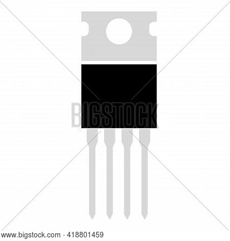 Field Effect Transistor Icon On White Background. Power Transistor Sign. Transistor Symbol. Flat Sty