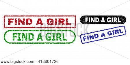 Find A Girl Grunge Watermarks. Flat Vector Grunge Watermarks With Find A Girl Slogan Inside Differen