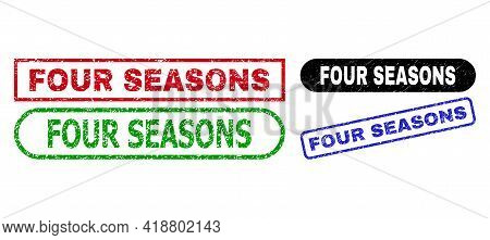 Four Seasons Grunge Stamps. Flat Vector Distress Watermarks With Four Seasons Slogan Inside Differen