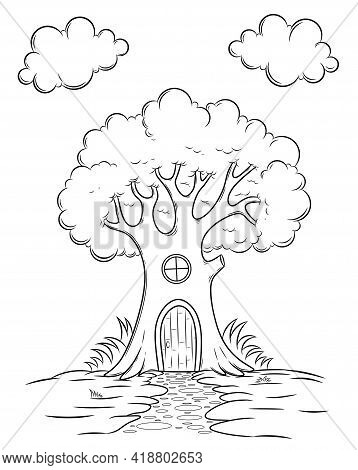 House In The Tree. Sketch Outline And Color Version. Childrens Education. Vector Illustration, Color