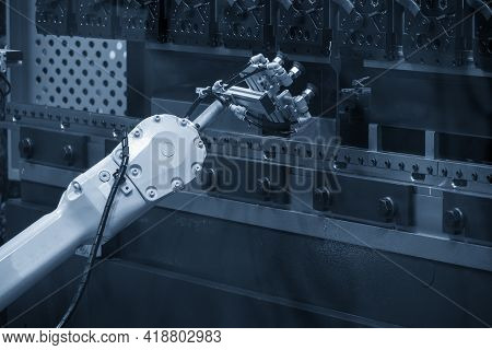 The Hi Technology Metal Forming By Robotic System With Hydraulic Press Brake Bending Machine. The Hi