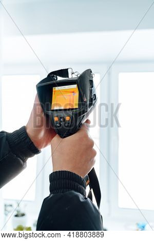 Temperature Measurement With An Infrared Thermometer. Inspection With A Thermal Imager.