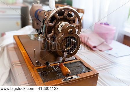 Retro Manual Sewing Machine, Soft Focus, Manually Operated.