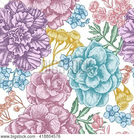 Seamless Pattern With Hand Drawn Pastel Wax Flower, Forget Me Not Flower, Tansy, Ardisia, Brassica,