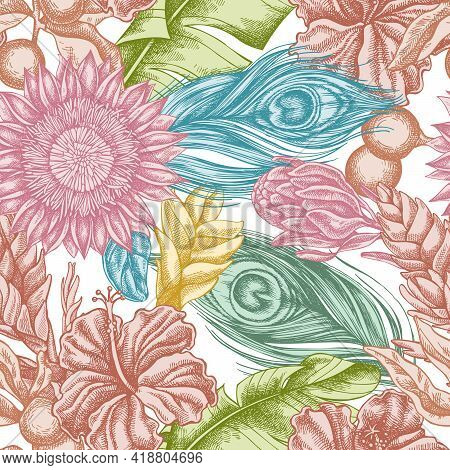 Seamless Pattern With Hand Drawn Pastel Banana Palm Leaves, Hibiscus, Solanum, Bromeliad, Peacock Fe