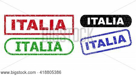 Italia Grunge Seal Stamps. Flat Vector Distress Seal Stamps With Italia Phrase Inside Different Rect