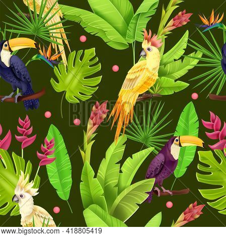 Jungle Tropical Leaves Vector Seamless Pattern, Toucan, Parrot, Banana Leaves, Monstera, Flowers On