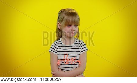 Upset Disappointed Little Blonde Teen Kid Child Girl With Tears On Eyes Cries From Despair, Being Sa