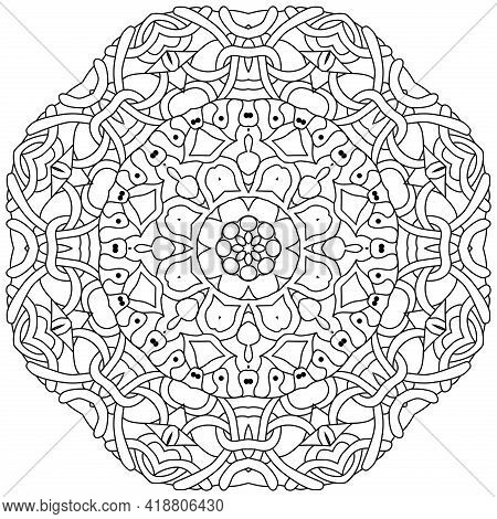 Vector Adult Coloring Book Textures. Hand-painted Art Design. Adult Anti-stress Coloring Page. Black