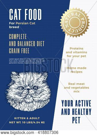 Pet Food Product Label Template. Abstract Vector Packaging Design Layout. Modern Typography Banner W